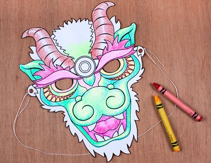 chinese new year dragon mask coloring page spoonful - Chinese Dragon Mask Coloring Pages
