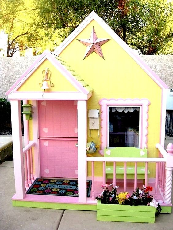 Compact, Tidy Outdoor Playhouses | KidSpace Stuff - some fun ideas on this site for play houses and playhouse accessories.: