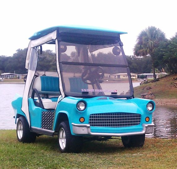"""Ez-Go or Club Car Ds   48 Volt Charging System Heavy duty fiberglass body  Headlights, tail light, turn signals, Flasher, side mirrors, charge indicators 10"""" Wheels and Tires Windshield"""