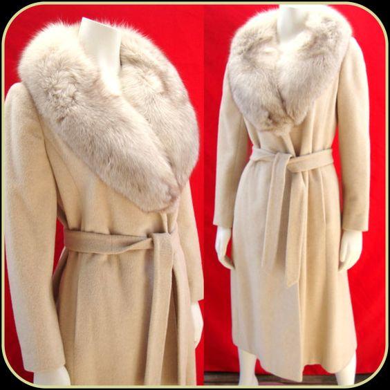 Regency Cashmere wrap coat ivory cream Glacier Fox fur shawl