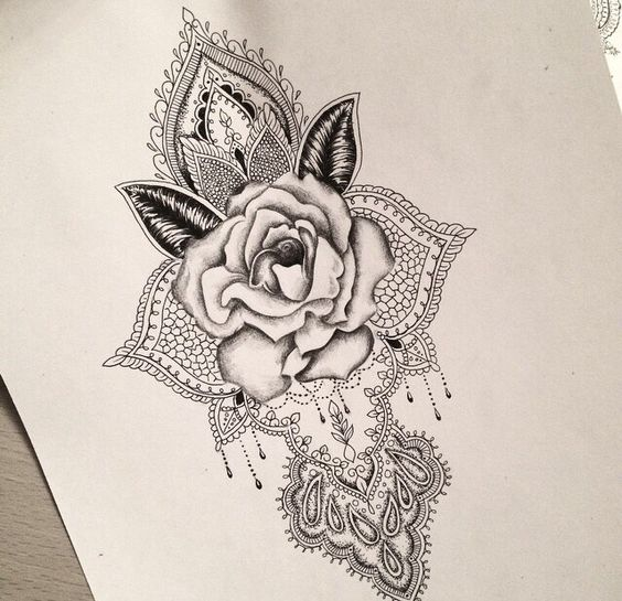 rose mandala tattoo design tattoos pinterest mandalas encre tatouages et fleur. Black Bedroom Furniture Sets. Home Design Ideas