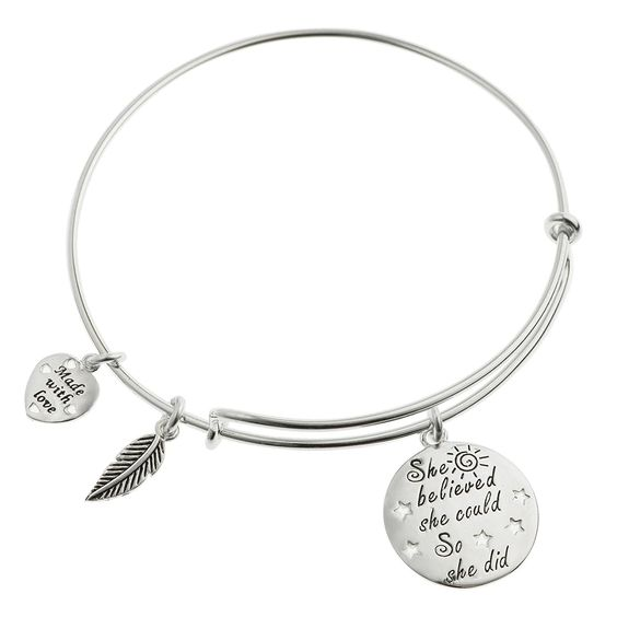 Amazon.com: Qina C. Sterling Silver She Believed She Could So She Did Heart Feather Dangle Charm Adjustable Wire Bangle Bracelet: Jewelry: