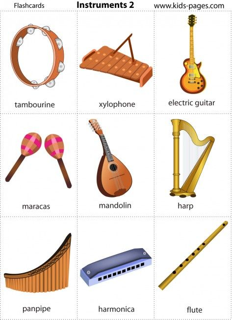 Kids pages free printable music instruments flash cards for Cuisine instrument