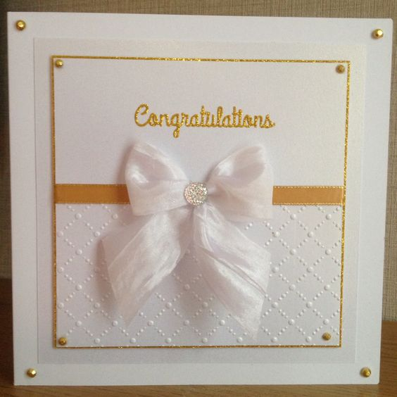 Engagement card Sizzix embossing folder and spellbinders die d-lites congrats