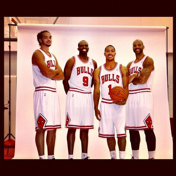 #Bulls Captains pose at #mediaday. @Dayna Coscarelli, @LuolDeng9, @JoakimNoah, @MisterCBooz