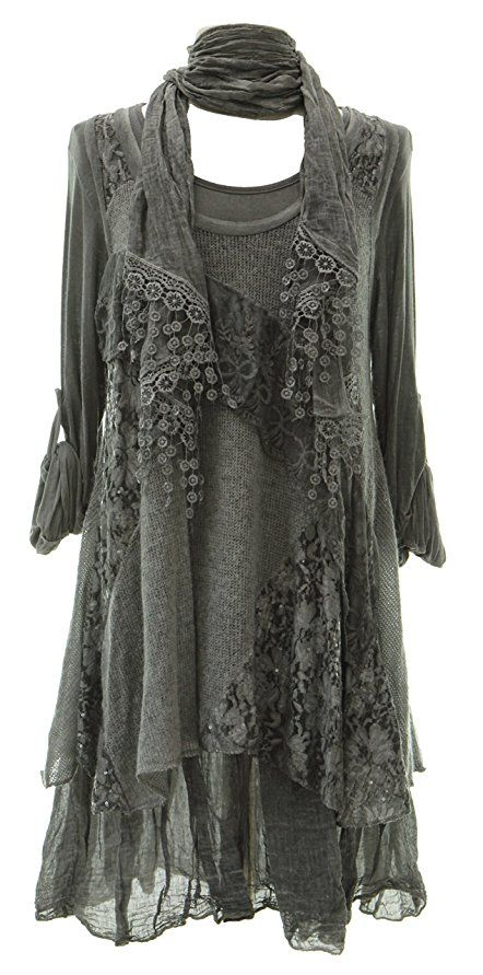 Ladies Womens Italian Lagenlook Quirky Layering 3 Piece Sequin Lace Knit Mohair Long Sleeves Scarf Tunic Top Dress One Size Plus (UK 12-20)