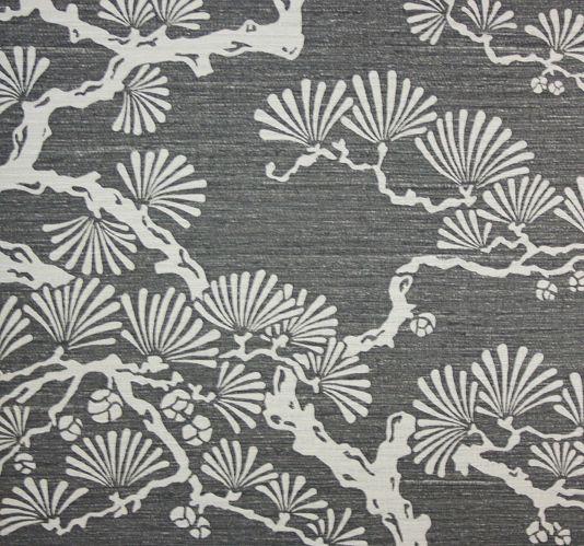 Keros Vinyl Wallpaper A block print inspired vinyl wallpaper featuring a stylised pine tree design in silver on an ebony background.