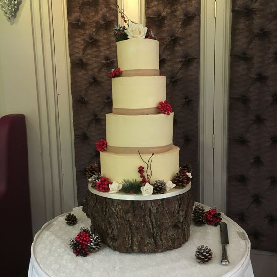 Butter cream frosted wedding cake