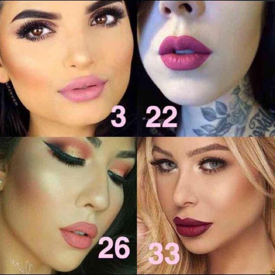 Bundle 4 Waterproof Lipstick Matte #3 , #22 , #26 , #33 Makeup Lipstick