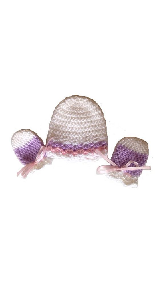 Cotton Candy Waves Crochet Baby Hat and Scratch Mittens Gift Set