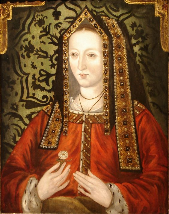 Portrait of Elizabeth of York (1466-1503), amongst English Royalty was a daughter to a king, niece to a king, wife to a king, mother to a king and grandmother to a queen.: