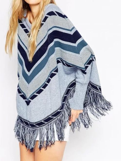 pull rayure col rond bleu gris 2432