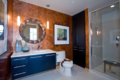 A Copper Color Palette Was The Driving Force In This Ensuite Interior Design Into The Bathroom Copper W Bathroom Design Studio Interior Copper Colour Palette