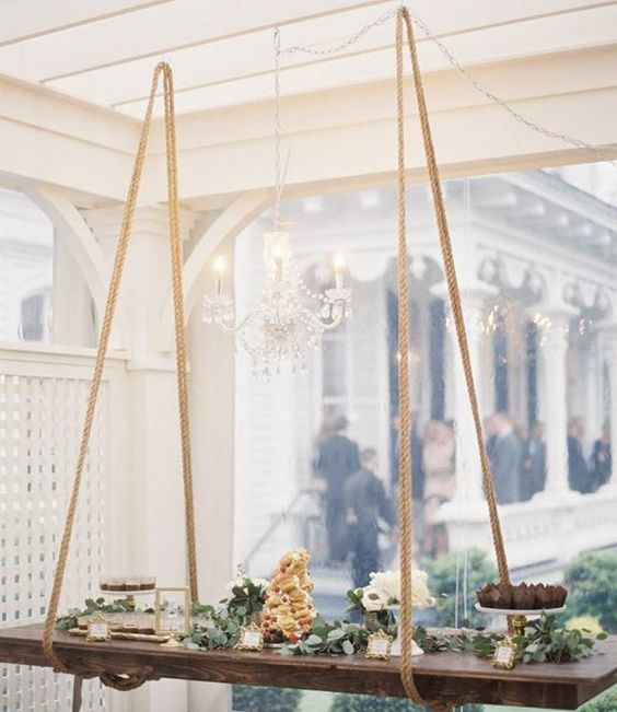Genius idea alert: a hanging dessert table!!! | Photography: @michaelandcarina | Event Planning + Floral Design: @canddevents | Reception Floral Design: @trebellainc | Catering: @durhamcateringco