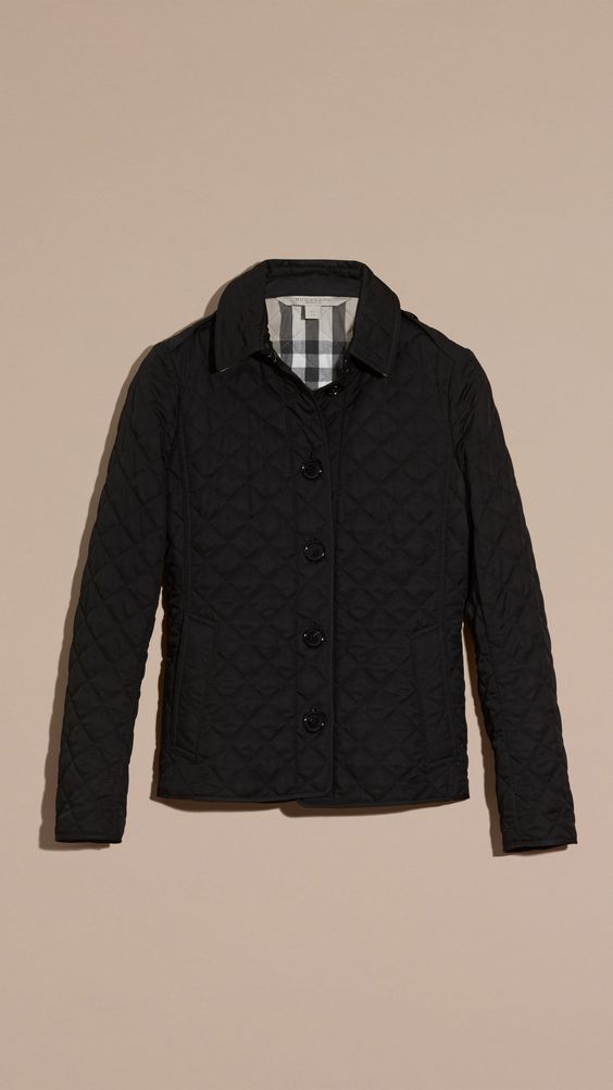 Diamond Quilted Jacket Black | Burberry