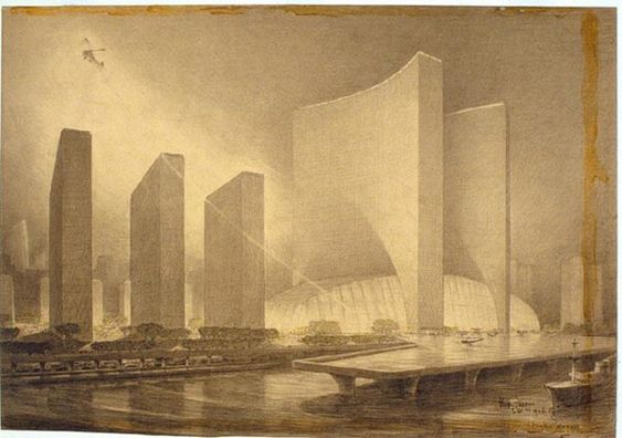 Architectural Drawings of Futuristic Buildings by Hugh Ferriss