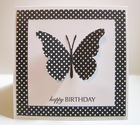 black and white butterfly card: