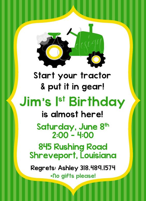 Tractor Birthday Party Invitation printable DIY by ALBCDesigns