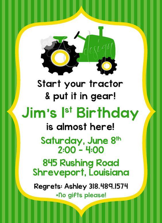 Tractor Birthday Party Invitation printable DIY by ALBCDesigns