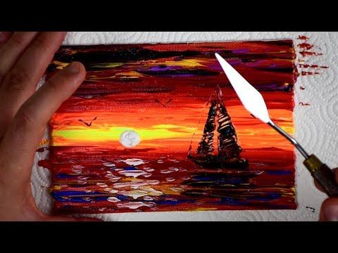 Making Of Easy Abstract Painting Sail Boat Seascape Acrylic Youtube Abstract Painting Easy Online Painting Abstract Painting