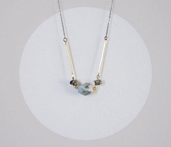 Jasper Pyrite Brass Necklace