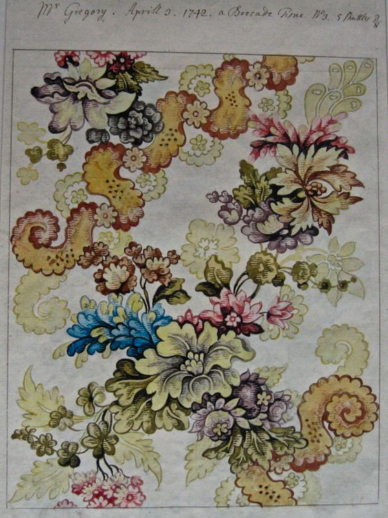 Designs by Anna Maria Garthwaite for Spitalfields silks from the 1740's in the collection of the Victoria and Albert Museum.