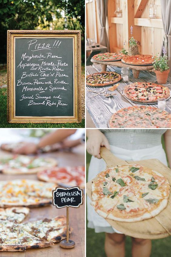 Pizza Buffet|  - a delicious new wedding foodie trend | See more great wedding food ideas on www.onefabday.com