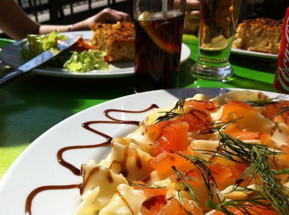 Salmon & pasta. Small restaurant in Lisboa. Bardasimagens. (march 2012)