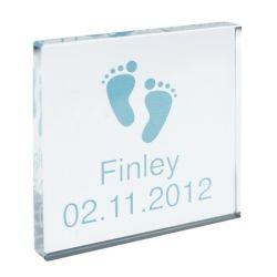 £9.79 Personalised Blue Footprints Small Crystal Block