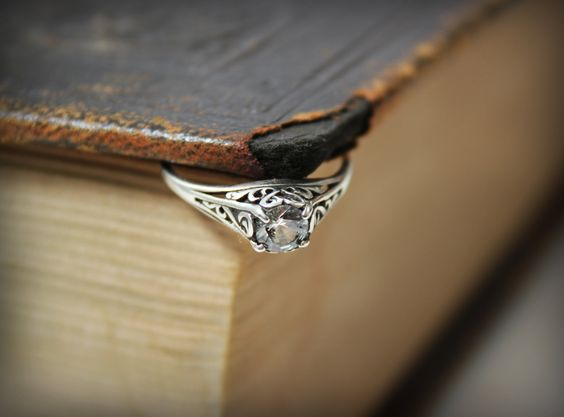 Filigree White Sapphire Ring in Sterling Silver  - Promise Ring, Engagement Ring, Wedding Ring. $150.00, via Etsy.