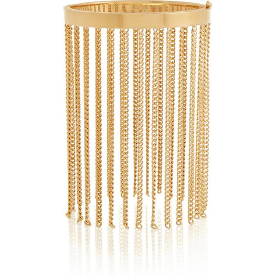 Chloé Delfine gold-tone fringed bracelet ($630) ❤ liked on Polyvore featuring jewelry, bracelets, accessories, gold, clasp bracelet, hinged bangle, hinged bracelet, gold tone jewelry and gold tone bracelet