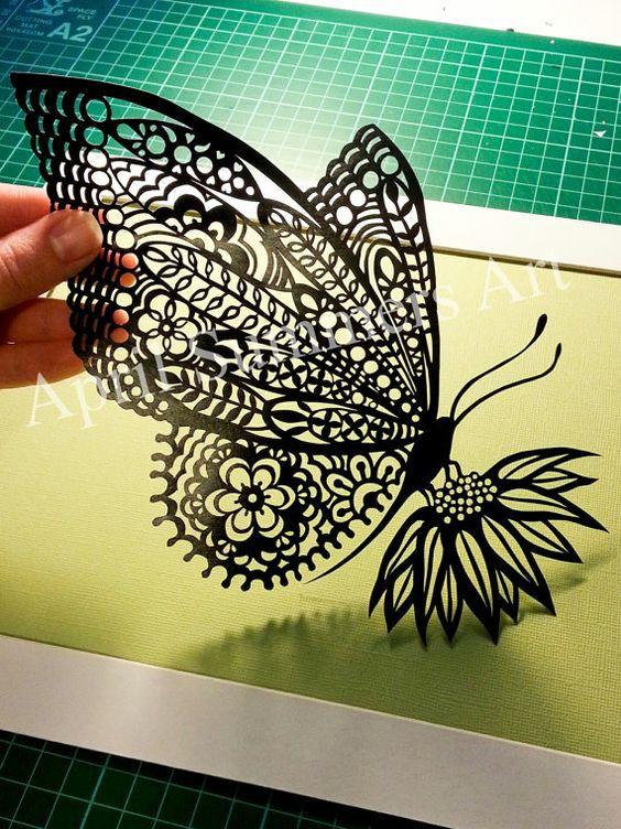 Personal mr butterfly papercut template digital file for Schattenbilder selber machen