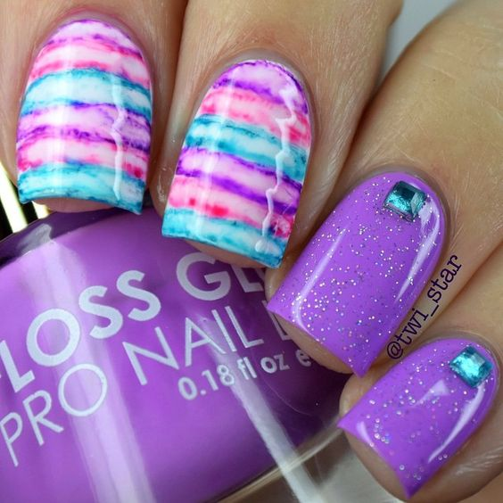Purple,  Pink, and Turquoise  Watercolor Nails