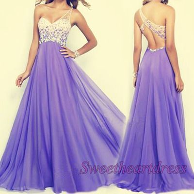 Unique one-shoulder prom dress, ball gown, purple chiffon long prom dress for teens #coniefox #2016prom