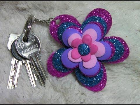 Flor en llavero ideas para regalar key ring flower - Manualidades de llaveros ...