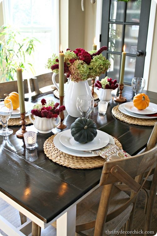 Thrifty Decor Chick: Simple autumn tablescape