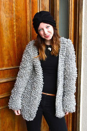 This is a fun and high fashion coat made using the crochet loop stitch (described in the pattern). It is loose, stylish, fashionable, and very warm. Perfect for styling up any outfit in these cold weather months!
