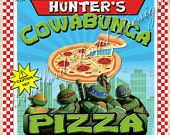 TMNT Teenage Mutant Ninja Turtles Pizza Box Label Customizable 8x8