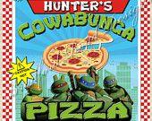 TMNT Teenage Mutant Ninja Turtles Pizza Box Label Customizable 8x8