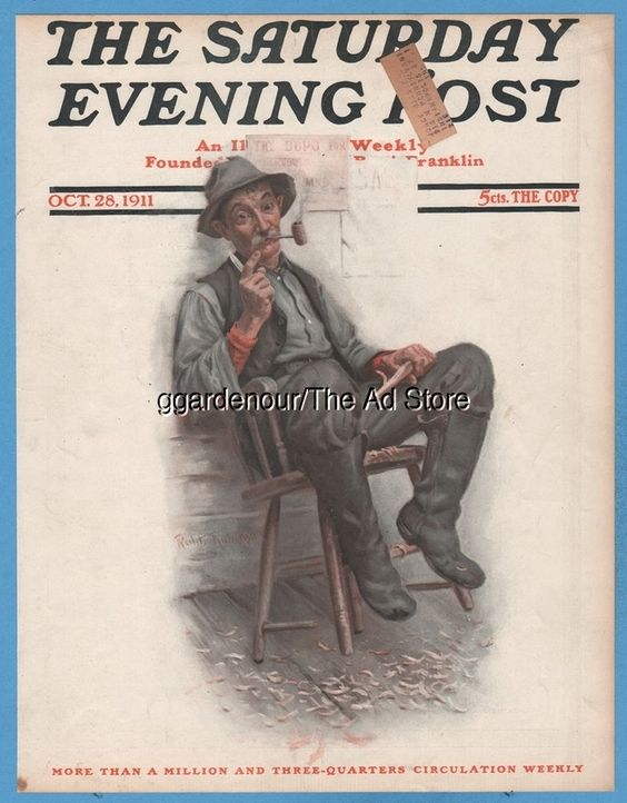 1911 Smoking man whittling GREAT art Saturday October 28 Evening Post Cover Only