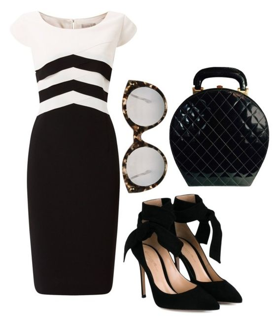 """Black"" by natalia-souza-ramos on Polyvore featuring Jacques Vert, Gianvito Rossi, Chanel and Illesteva"