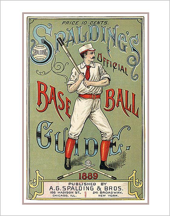 Spaldings 1889 Baseball Guide print - 8x10 print - Vintage baseball print