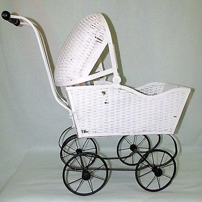 Antique Wicker Baby Carriage Buggy Doll 20's- Vintage Old Stroller Buggie