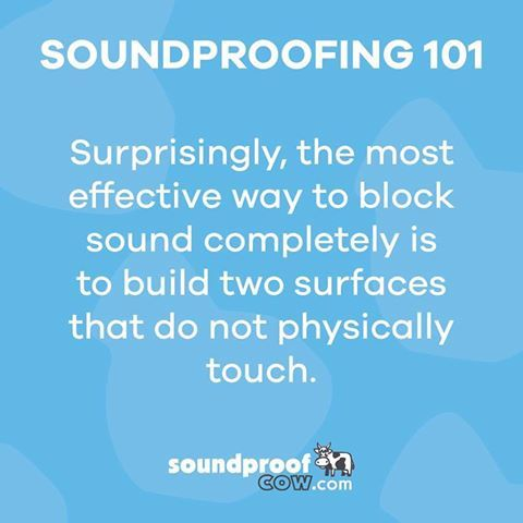 Soundproofing 101 surprises! There is always something new to learn around here. As long as you have a noise, we have a solution - it's finding a way to dampen, deaden, absorb, proof... that sound that makes each project unique. Give us a call at 1-866-949-9269 or fill out a questionnaire at www.soundproofcow.com to get to know our herd and find help today!