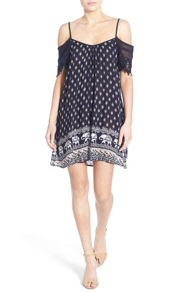 Band of Gypsies Band of Gypsies Cold Shoulder Woven Dress available at #Nordstrom