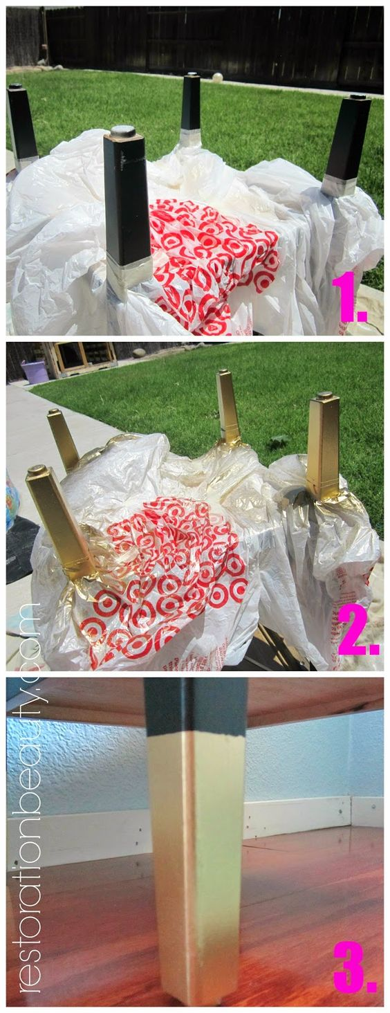 Spray Paint Table Gold Dipped And Table Legs On Pinterest