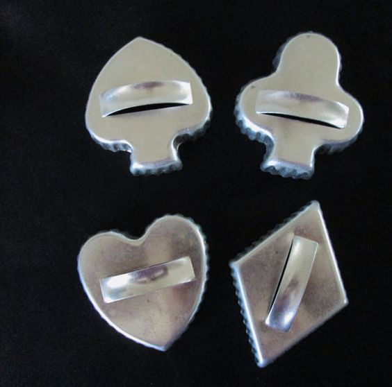 #Bridge-Set of Four Tin Card Suits Cookie Cutters-make bridge or poker cookies! $4.50  #MollyJoCollections