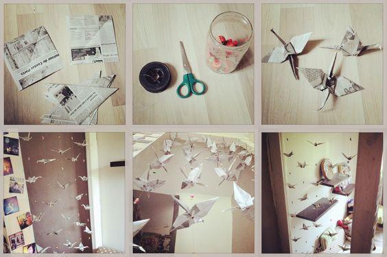 Guirlande en papier journal fait base de grue en papier - Guirlande en papier a faire soi meme ...