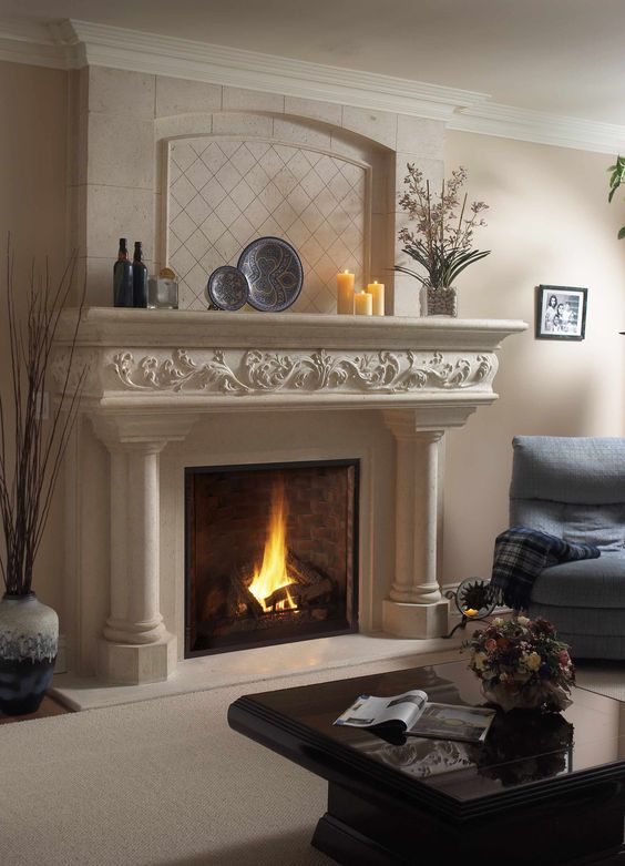 Margaux lite cast stone mantel the beauty of fireplace - Stone fireplace surround ideas ...