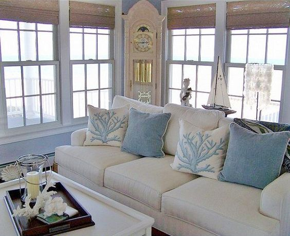This is absolutely gorgeous the blues are so beautiful - Beach themed living room ideas ...